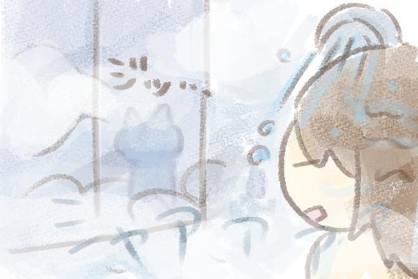 お風呂が気になる猫