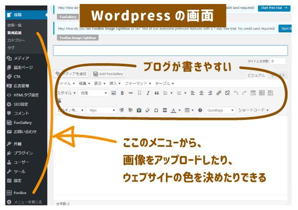 wordpressの画面です
